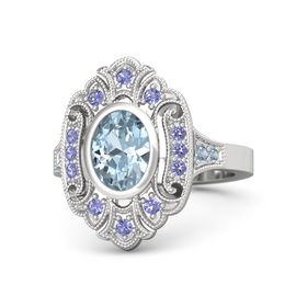 Oval Aquamarine Sterling Silver Ring with Iolite and Blue Topaz