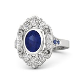 Oval Blue Sapphire Sterling Silver Ring with White Sapphire and Blue Sapphire