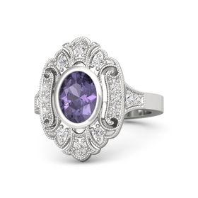Oval Iolite Sterling Silver Ring with White Sapphire