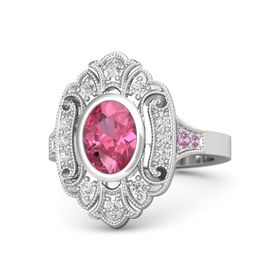 Oval Pink Tourmaline Sterling Silver Ring with White Sapphire & Pink Tourmaline