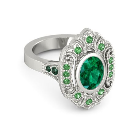 oval emerald platinum ring with emerald and alexandrite