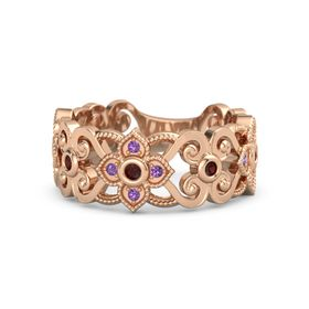 14K Rose Gold Ring with Red Garnet and Amethyst