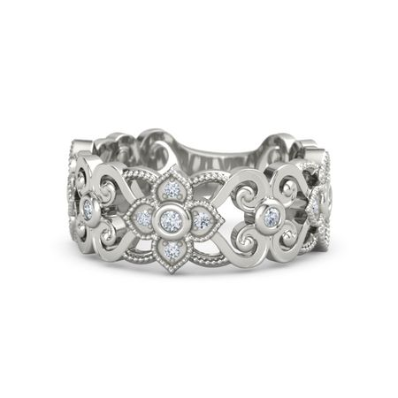 14K White Gold Ring with Diamond Spanish Lace Band