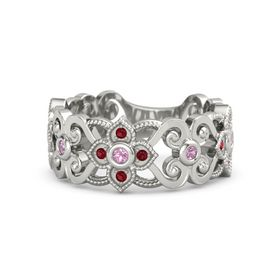 18K White Gold Ring with Pink Tourmaline and Ruby