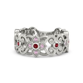 Platinum Ring with Ruby & Pink Sapphire