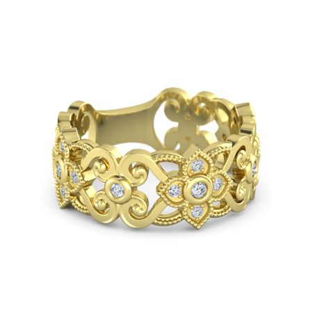 14K Yellow Gold Ring with Diamond | Spanish Lace Band ...