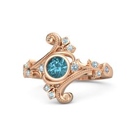 Round London Blue Topaz 14K Rose Gold Ring with Aquamarine and Blue Topaz
