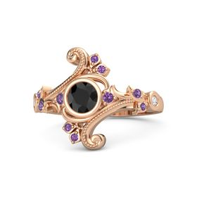 Round Black Diamond 14K Rose Gold Ring with Amethyst and White Sapphire