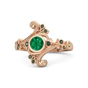 Round Emerald 14K Rose Gold Ring with Green Tourmaline and Peridot