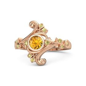 Round Citrine 14K Rose Gold Ring with Yellow Sapphire and Citrine