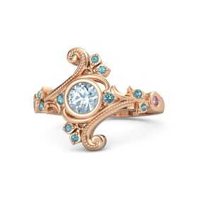 Round Aquamarine 14K Rose Gold Ring with London Blue Topaz and Pink Sapphire