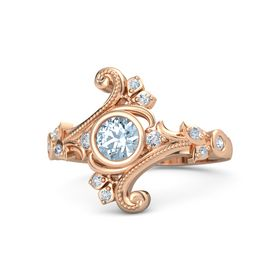 Round Aquamarine 14K Rose Gold Ring with Diamond