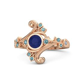 Round Blue Sapphire 14K Rose Gold Ring with London Blue Topaz and Blue Topaz