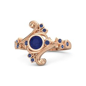 Round Blue Sapphire 14K Rose Gold Ring with Blue Sapphire