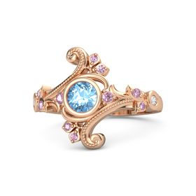 Round Blue Topaz 14K Rose Gold Ring with Pink Sapphire and White Sapphire