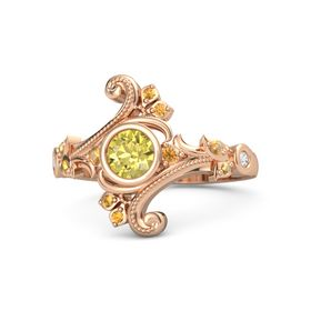 Round Yellow Sapphire 14K Rose Gold Ring with Citrine and White Sapphire
