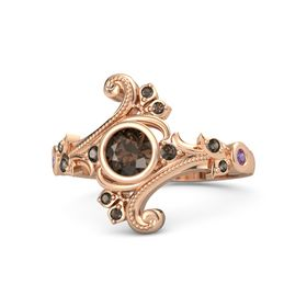 Round Smoky Quartz 14K Rose Gold Ring with Smoky Quartz and Amethyst