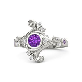 Round Amethyst 14K White Gold Ring with White Sapphire and Amethyst
