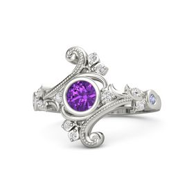 Round Amethyst 14K White Gold Ring with White Sapphire and Tanzanite