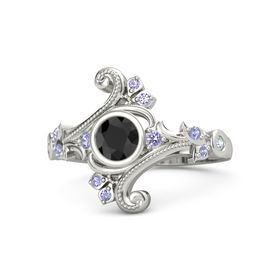 Round Black Diamond 14K White Gold Ring with Tanzanite and Diamond
