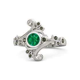 Round Emerald 14K White Gold Ring with Green Tourmaline