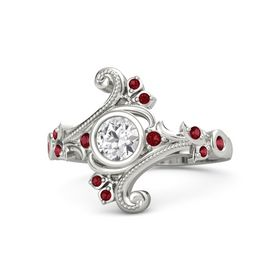 Round White Sapphire 14K White Gold Ring with Ruby