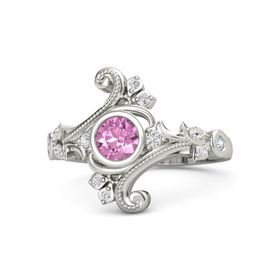 Round Pink Sapphire 14K White Gold Ring with White Sapphire and Diamond