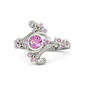 Round Pink Sapphire 14K White Gold Ring with Pink Sapphire and Pink Tourmaline