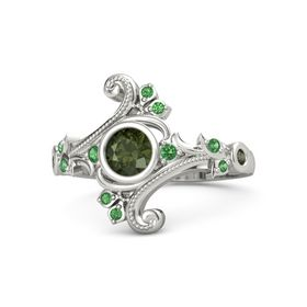 Round Green Tourmaline 14K White Gold Ring with Emerald and Green Tourmaline