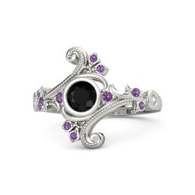 Round Black Onyx 14K White Gold Ring with Amethyst and Diamond
