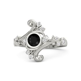Round Black Onyx 14K White Gold Ring with White Sapphire