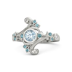 Round Aquamarine 14K White Gold Ring with London Blue Topaz and White Sapphire