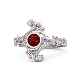 Round Ruby 14K White Gold Ring with Pink Tourmaline and Pink Sapphire