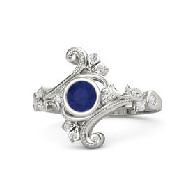 Round Blue Sapphire 14K White Gold Ring with White Sapphire