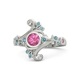 Round Pink Tourmaline 14K White Gold Ring with London Blue Topaz and Pink Sapphire