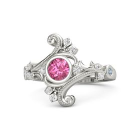 Round Pink Tourmaline 14K White Gold Ring with White Sapphire and Blue Topaz