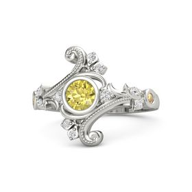 Round Yellow Sapphire 14K White Gold Ring with White Sapphire and Citrine