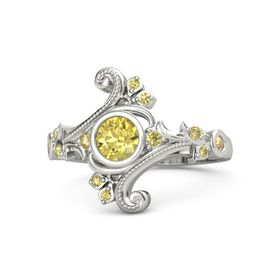 Round Yellow Sapphire 14K White Gold Ring with Yellow Sapphire and Citrine