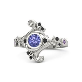 Round Tanzanite 14K White Gold Ring with Black Diamond and Amethyst