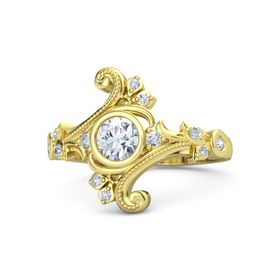 Round Diamond 14K Yellow Gold Ring with Diamond