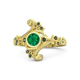 Round Emerald 14K Yellow Gold Ring with Green Tourmaline and Peridot