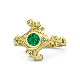 Round Emerald 14K Yellow Gold Ring with Peridot and Green Tourmaline