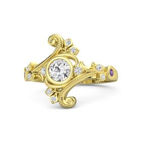 Round White Sapphire 14K Yellow Gold Ring with White Sapphire and Amethyst