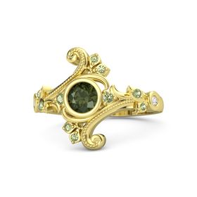 Round Green Tourmaline 14K Yellow Gold Ring with Peridot and White Sapphire