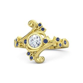 Round Moissanite 14K Yellow Gold Ring with Blue Sapphire