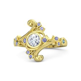 Round Moissanite 14K Yellow Gold Ring with Iolite and London Blue Topaz