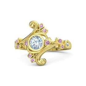 Round Aquamarine 14K Yellow Gold Ring with Pink Tourmaline and Aquamarine