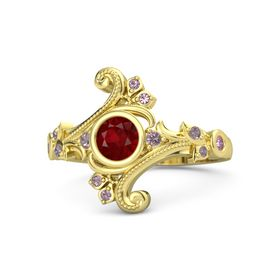 Round Ruby 14K Yellow Gold Ring with Rhodolite Garnet and Pink Sapphire