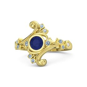 Round Blue Sapphire 14K Yellow Gold Ring with Blue Topaz and White Sapphire
