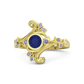 Round Blue Sapphire 14K Yellow Gold Ring with Iolite and White Sapphire